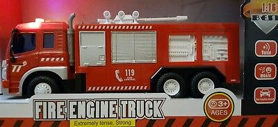 Friction Powered Large Fire Engine Truck Toy Lights Sounds Boys Girls Toys 1:16
