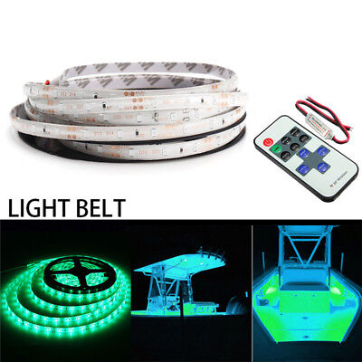 5m/16ft Waterproof LED Strip Light + Remote 12V For Boat Truck Car SUV RV Green