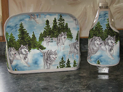 Gray Wolves running, trees cotton fabric Handmade 2 slice toaster cover (ONLY)