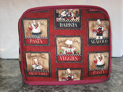 Chefs Pasta Barista Veggies cotton fabric Handmade 2 slice toaster cover (ONLY)