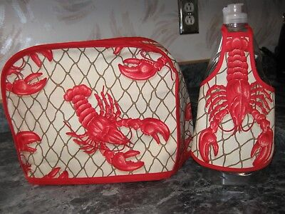 Red Lobsters on cotton fabric Handmade 2 slice toaster cover ONLY