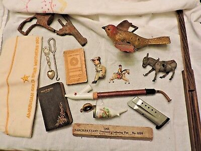 Antique & vintage mixed lot antique metal toy lot /Smith & Wesson/Military/pipes