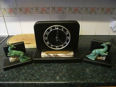 Lovely 19th Century Clock Garniture Set / Onyx Marble with Leaping Deers / Stags