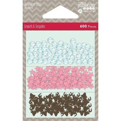Jillibean Soup Shaker Card Sequin Pack-reindeer Mix, 600/pkg