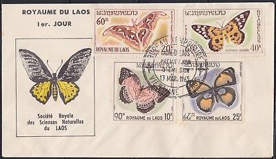 LAOS 1er Jour, N°106/108 PA N°46 Papillon 1965,Sc#101-103 C46 Butterfly on FDC