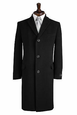 Mens Black Warm Winter Traditional Cromby Style Coat Wool Blend New Overcoat