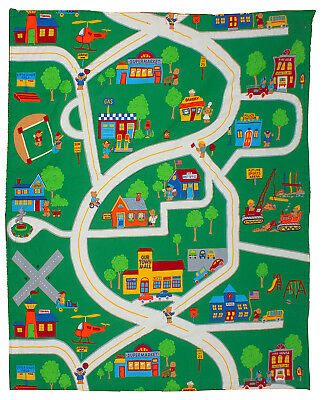 Play Quilt Mat City Map Roads Town Teddy Bears Street Signs Buildings Vehicles