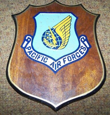 U.s. Air Force Pacific Air Forces Plaque, Wood, Made In Philippines *nice*