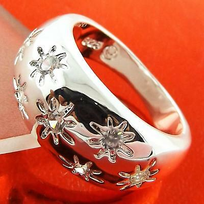 Ring Real 925 Sterling Silver Sf Ladies Antique Diamond Simulated Design Fs3A130