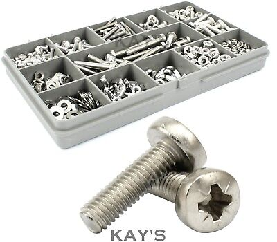 590pc POZI PAN HEAD SCREWS, NUTS, WASHERS, WING NUTS STAINLESS STEEL KIT MODELS