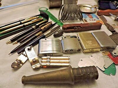 vintage mixed lot antique metal toy/ lighters/pens/military