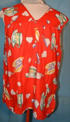 1X  red kitchen Smock Apron Lunch-lady TEACUP design