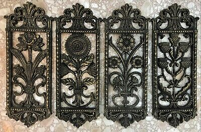 Vintage HOMCO 1975 Set of 4 Wall Hangings Model #7368-8 Black w/Gold Excellent