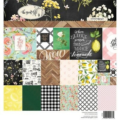 """Webster's Pages Double-sided Paper Pad 8""""x8"""" 24/pkg-the Good Life, 12 Designs/2"""