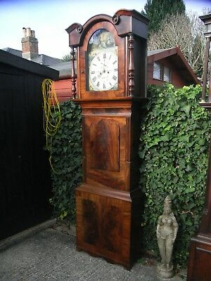 Large 19th Century Flame Mahogany Grandfather Clock / Longcase Halifax