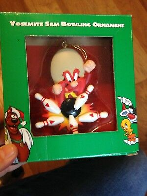 New Warner Bros. 1998 Yosemite Sam Bowling Christmas Ornament And Free Shipping