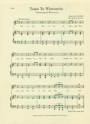 """UNIVERSITY OF WISCONSIN Vintage Alma Mater Song Sheet c1927 """"Toast to Wisconsin"""""""