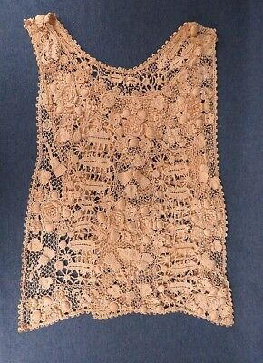 Large Victorian Crochet Lace Ecru Floral Detailed Collar Vintage Antique
