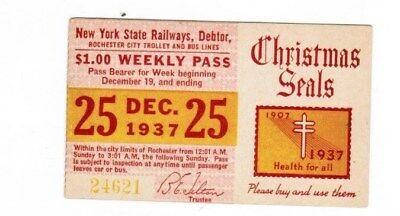 Rochester New York Transit Ticket Pass December 25 1937 Buy Use Christmas Seals
