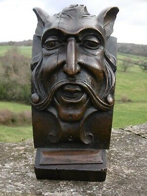 SUPERB 19thc GOTHIC OAK CARVED DEVILISH HEAD WITH ANIMALISTIC EARS