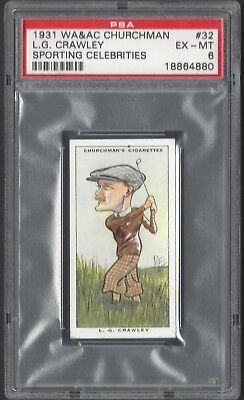 1931 W A & A C Churchman - #32 L G Crawley - Sporting Celebrities - Psa 6