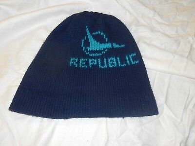 Republic Airlines Blue Knit Cap with Duck Logo