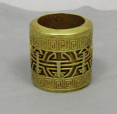 CHINESE ARCHERS RING ANTIQUE QING DYNASTY SOLID SILVER WITH 22k+ GOLD gilding.