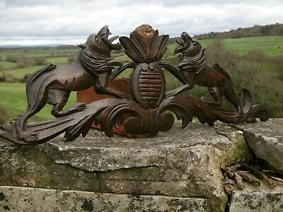 SUPERB 19thc ARMORIAL OAK CARVED PEDIMENT WITH LIONS