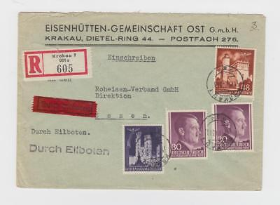 German Occup. of Poland, WWII: 1943 R-express cover, 1.88zt rate!