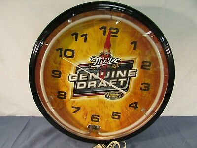 Miller Genuine Draft Neon Lighted Clock