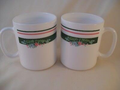 Vintage Arcopal White Milk Glass Misty Meadow Set of 2 Coffee Mugs France