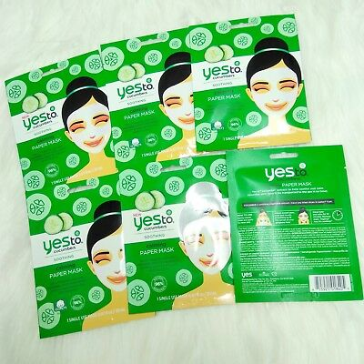 (Lot of 6) New YES TO Cucumbers Soothing Calming Paper Masks, 1-Single Use Mask