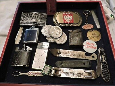 Mens Junk Drawer Lot Belt Buckles Lighters Knives And Much More