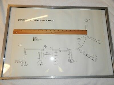 Northwest Airlines NWA     DTW Detroit Concourse Map w/ Gates     22.5 X 17.5