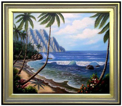 Framed Quality Hand Painted Oil Painting Pacific island Coast Scene, 20x24in