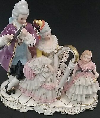Vintage Dresden Art Porcelain Lace Figurines Playing Piano And Flute