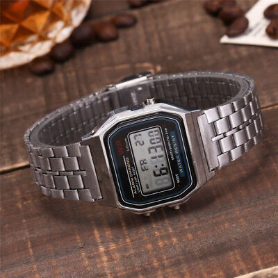 Fashion Men Women Digital Display Square Dial Alarm Stopwatch Wrist Watch GIL