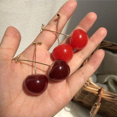 Women Sweet Red Cherry Fruits Simulation Earrings Ear Stud Fashion Jewelry Gift