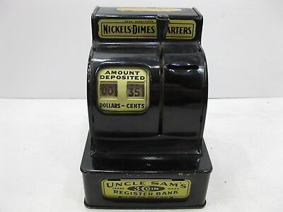 Vintage Black UNCLE SAM'S 3 COIN REGISTER BANK Working Condition