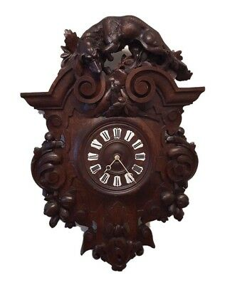Antique French Carved Oak Renaissance Hunt Style Wall Clock 3' FT Tall