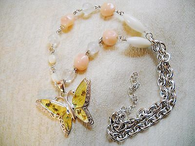 LUCITE & SILVER TONE BUTTERFLY PENDANT w/ABALONE CHIPS ON BEADED STRAND NECKLACE