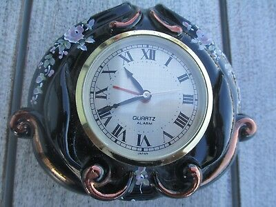 Beautiful Hand Painted Signed Black Glass Fenton Clock - Not Working