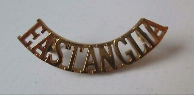 BRITISH ARMY BRASS military METAL SHOULDER TITLE - EAST ANGLIA