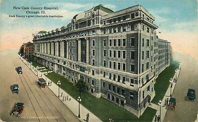 Postcard New Cook County Hospital, Chicago Illinois - used 1916