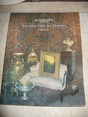 SOTHEBY'S Specialist Sales for October CHESTER auction catalogue  8 & 9 Oct 1986