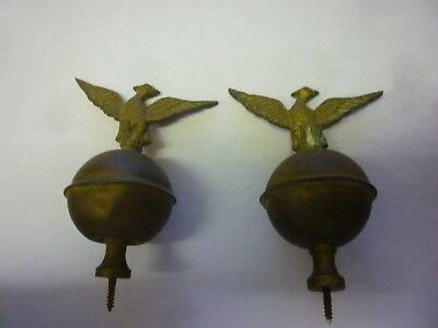 Original Pair Of Antique Brass Longcase Clock Eagle Finials