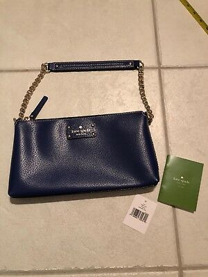 Kate Spade Holiday Blue Leather Wellesley Byrd Chain Shoulder Bag NWT