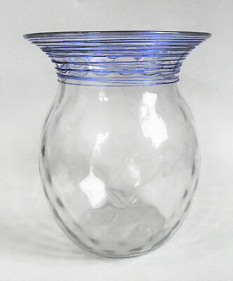 STEUBEN Clear Threaded FRENCH BLUE Reeded Art Glass DIAMOND OPTIC Baluster Vase