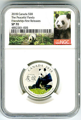 2018 $8 Canada Silver Ngc Sp70 Panda Peaceful Friendship First Releases Rare !!