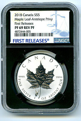 2018 $5 Canada Silver Maple Leaf Ngc Pf69 Antelope Privy Rev Proof First Release